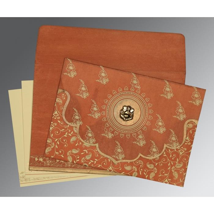 Orange Wooly Screen Printed Wedding Invitation : IN-8207N - 123WeddingCards