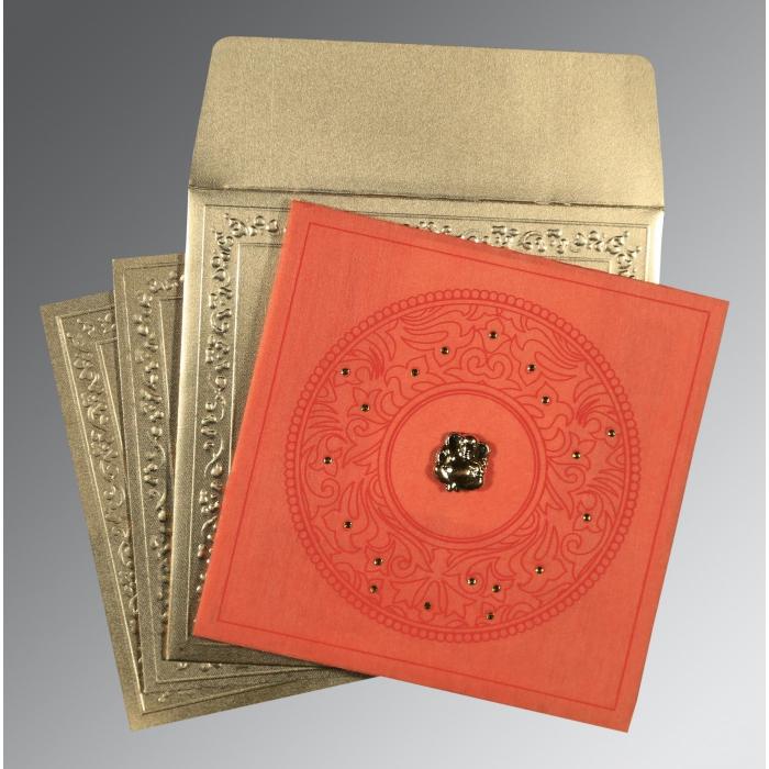Orange Wooly Screen Printed Wedding Card : IN-8214C - 123WeddingCards