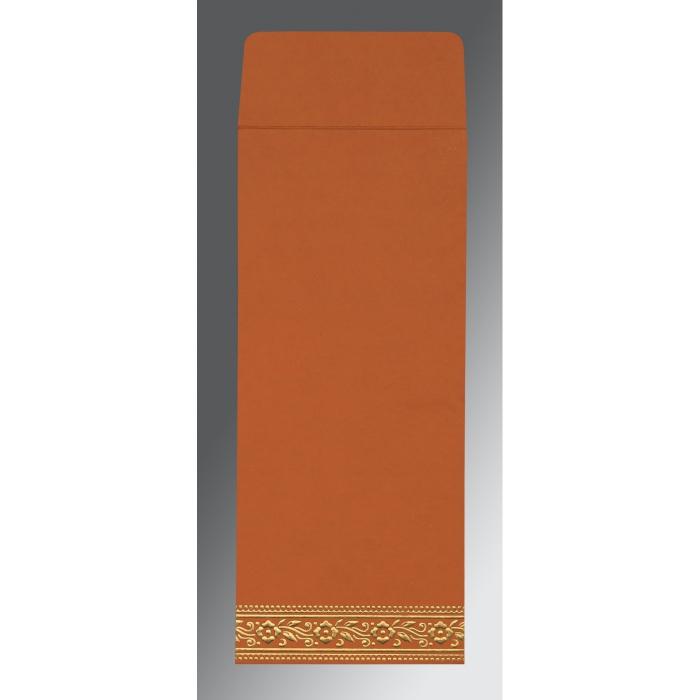 Orange Wooly Screen Printed Wedding Invitation : RU-8220C - 123WeddingCards