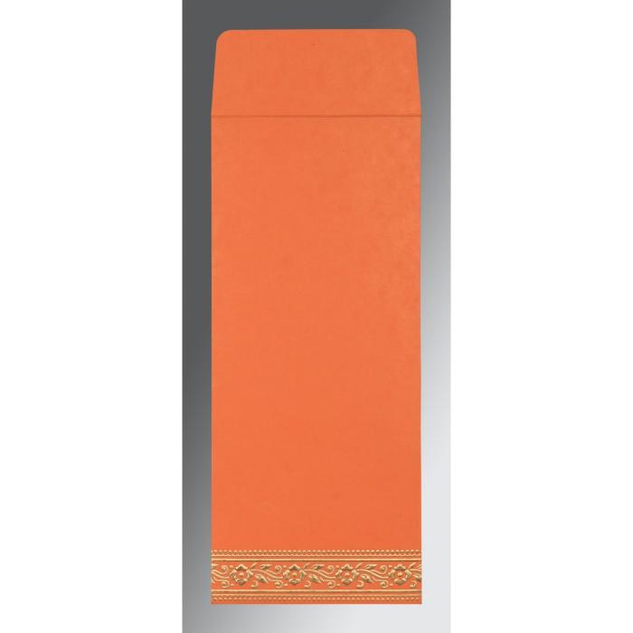Orange Wooly Screen Printed Wedding Invitation : S-8220N - 123WeddingCards