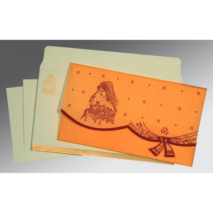 Orange Wooly Unique Themed - Screen Printed Wedding Invitation : G-8204B - 123WeddingCards