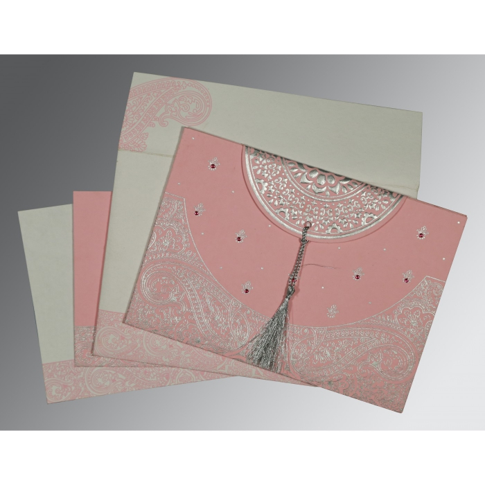 ENGLISH VIOLET HANDMADE COTTON EMBOSSED WEDDING CARD : C-8234G - 123WeddingCards