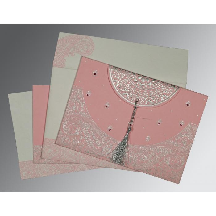Pink Handmade Cotton Embossed Wedding Card : SO-8234G - 123WeddingCards