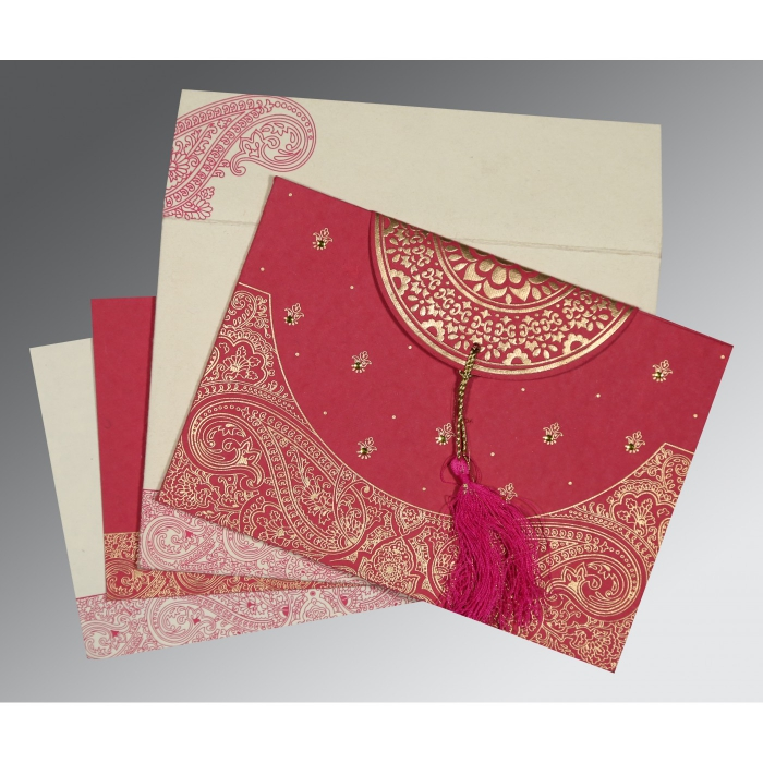 HOT PINK HANDMADE COTTON EMBOSSED WEDDING CARD : W-8234I - 123WeddingCards