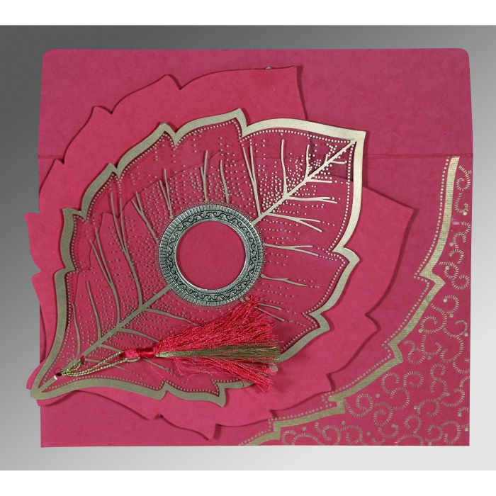 HOT PINK TRANSPARENT HANDMADE COTTON FLORAL THEMED - FOIL STAMPED WEDDING CARD : D-8219F - 123WeddingCards