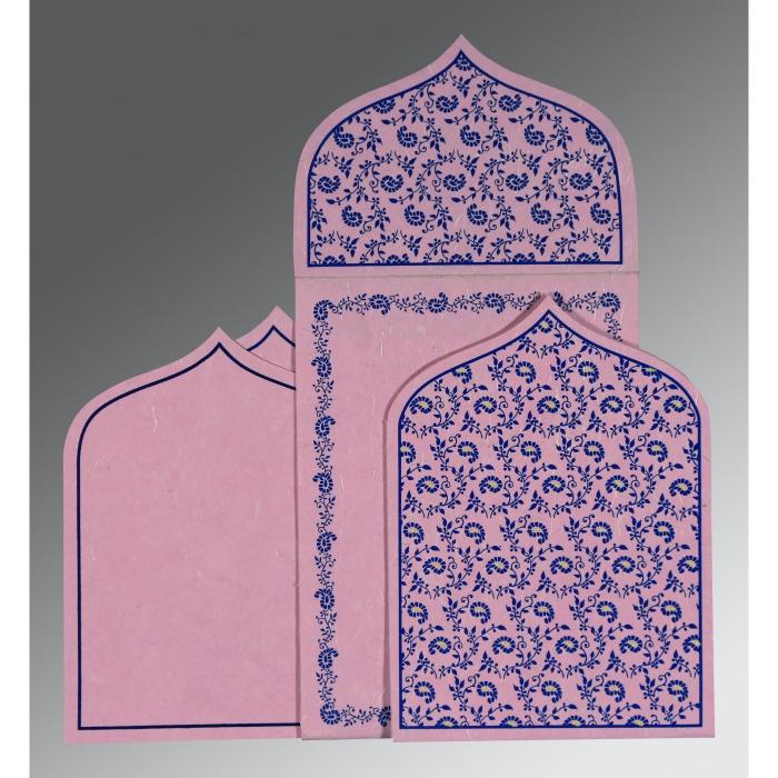 Pink Handmade Silk Paisley Themed - Glitter Wedding Invitation : W-8208J - 123WeddingCards