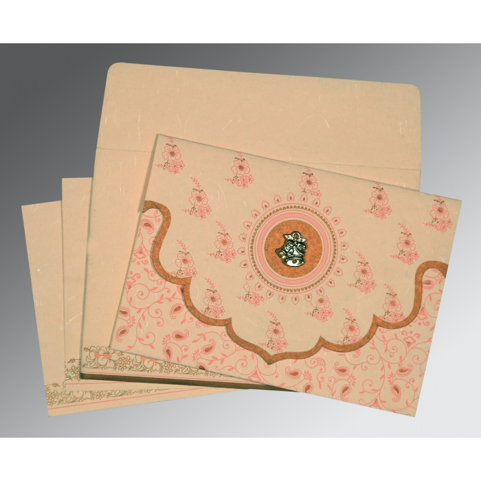 PEACH HANDMADE SILK SCREEN PRINTED WEDDING INVITATION : C-8207C - 123WeddingCards