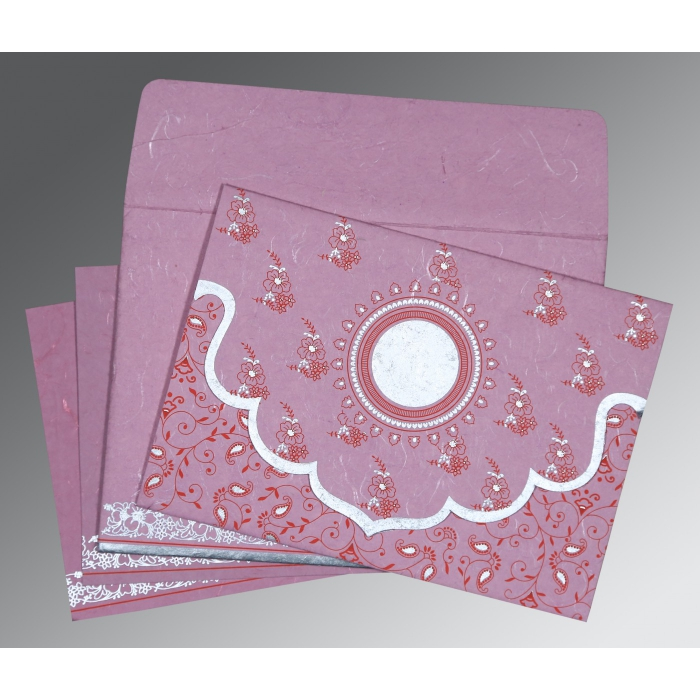 Pink Handmade Silk Screen Printed Wedding Invitation : D-8207K - 123WeddingCards