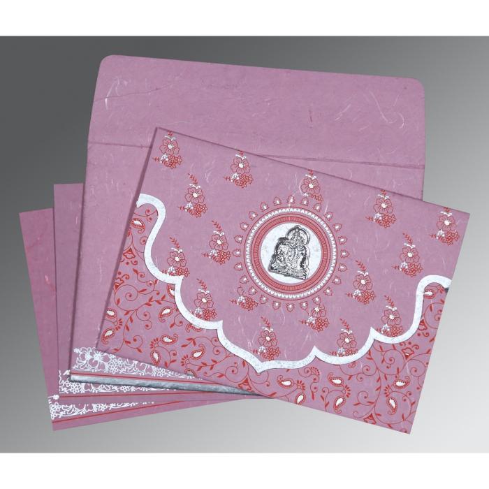 Pink Handmade Silk Screen Printed Wedding Invitation : G-8207K - 123WeddingCards