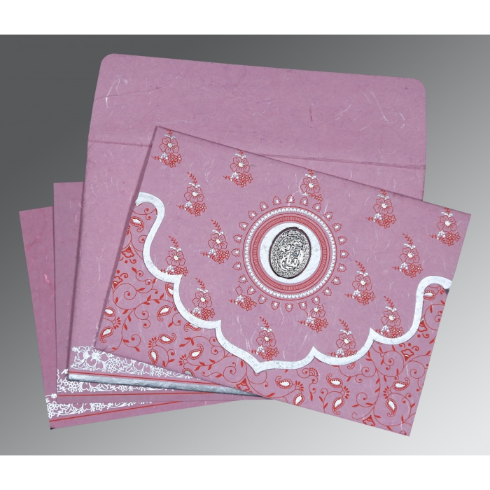 Pink Handmade Silk Screen Printed Wedding Invitation : I-8207K - 123WeddingCards