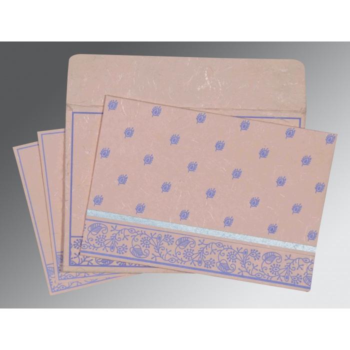 Pink Handmade Silk Screen Printed Wedding Card : I-8215M - 123WeddingCards