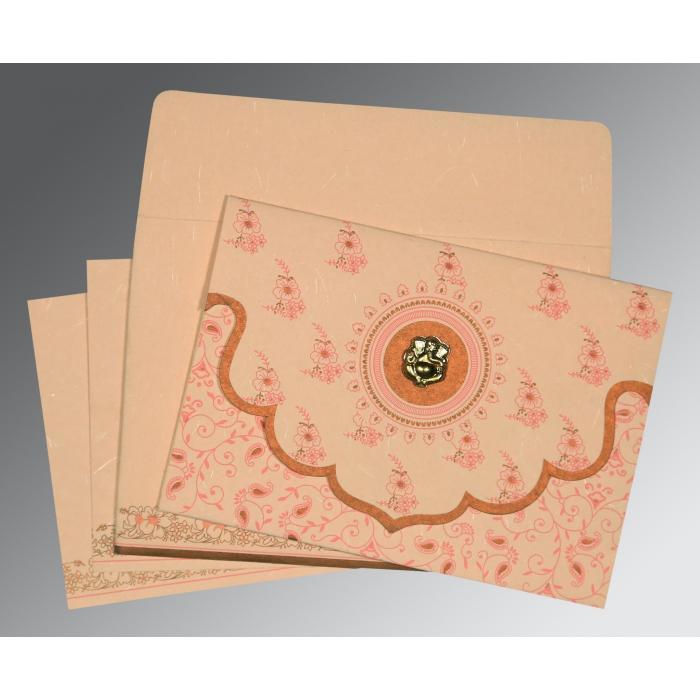 Pink Handmade Silk Screen Printed Wedding Invitation : IN-8207C - 123WeddingCards