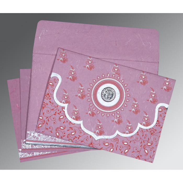 Pink Handmade Silk Screen Printed Wedding Invitation : S-8207K - 123WeddingCards