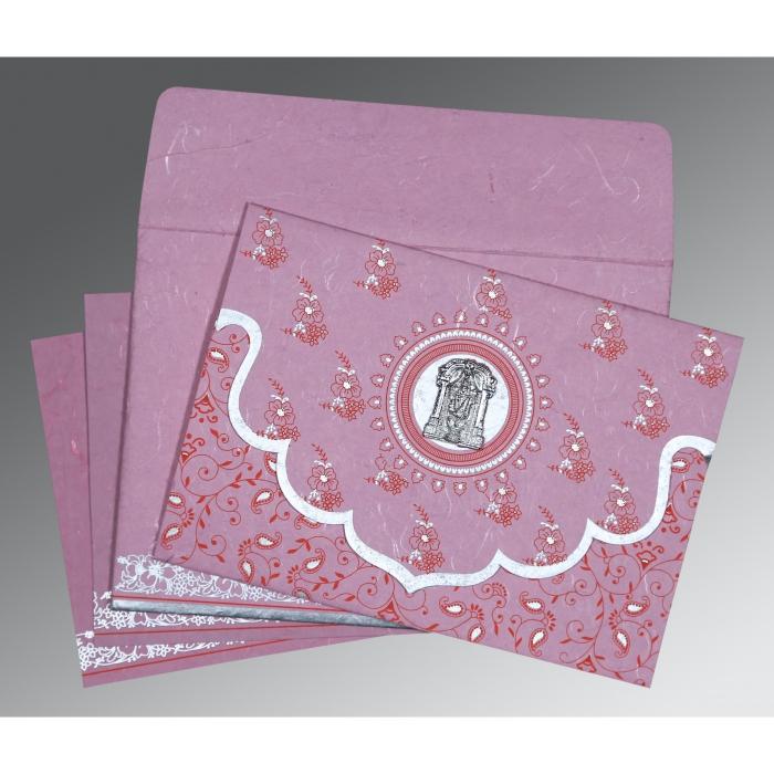 Pink Handmade Silk Screen Printed Wedding Invitation : SO-8207K - 123WeddingCards