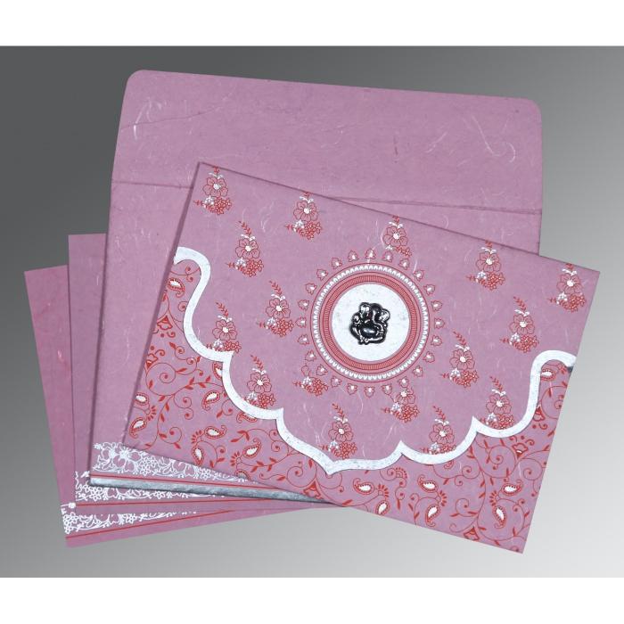 Pink Handmade Silk Screen Printed Wedding Invitation : W-8207K - 123WeddingCards