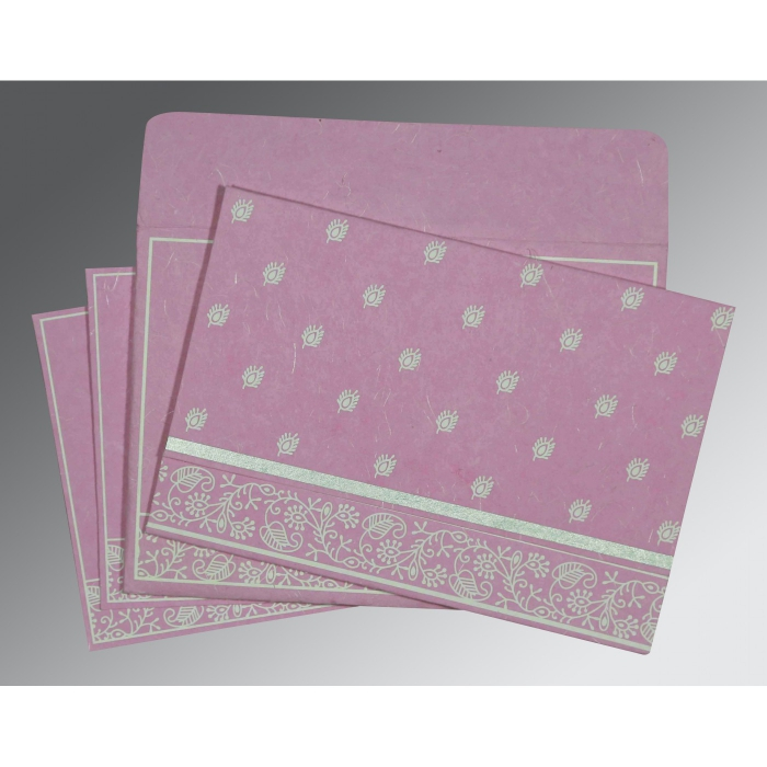AZALEA PINK HANDMADE SILK SCREEN PRINTED WEDDING CARD : W-8215J - 123WeddingCards