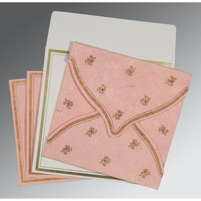 Pink Handmade Silk Unique Themed - Screen Printed Wedding Card : RU-8203E - 123WeddingCards