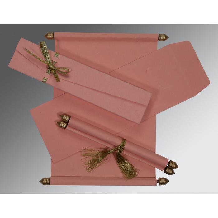 Pink Handmade Silk Wedding Card : SC-5001N - 123WeddingCards