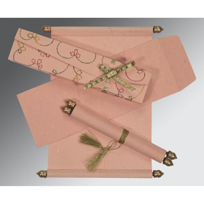 Pink Handmade Silk Wedding Card : SC-5002H - 123WeddingCards