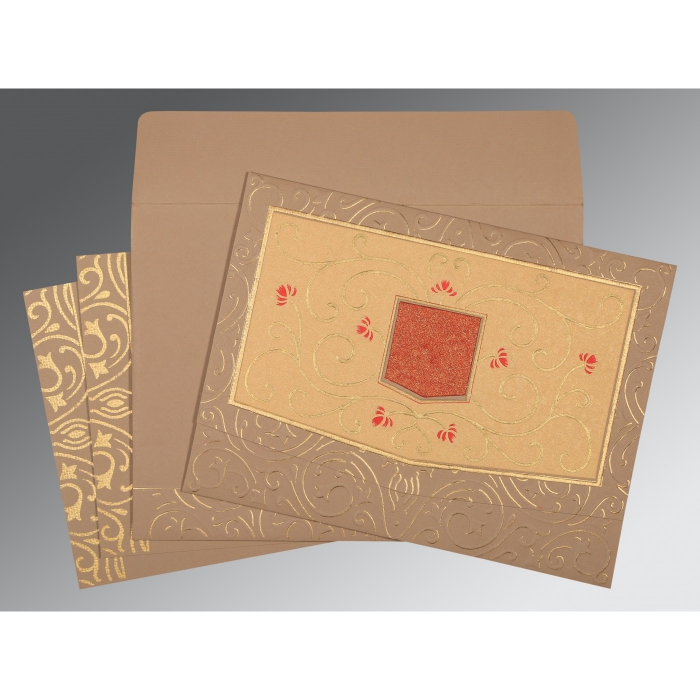 PALE TAUPE HANDMADE SHIMMER EMBOSSED WEDDING CARD : D-1394 - 123WeddingCards