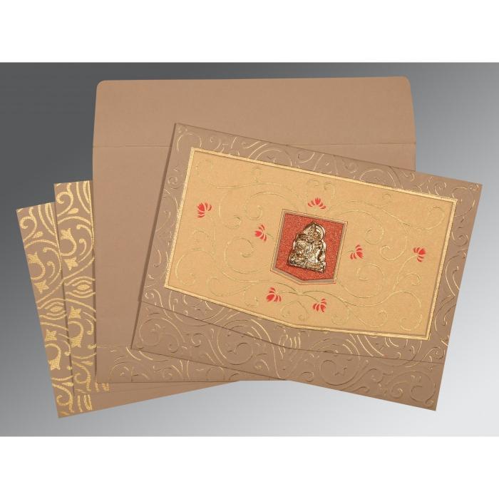 Pink Matte Embossed Wedding Card : G-1394 - 123WeddingCards