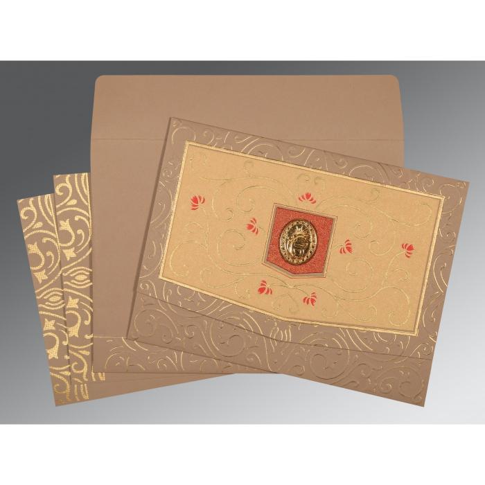Pink Matte Embossed Wedding Card : S-1394 - 123WeddingCards