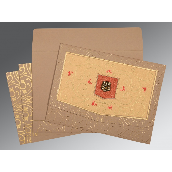 PALE TAUPE HANDMADE SHIMMER EMBOSSED WEDDING CARD : W-1394 - 123WeddingCards