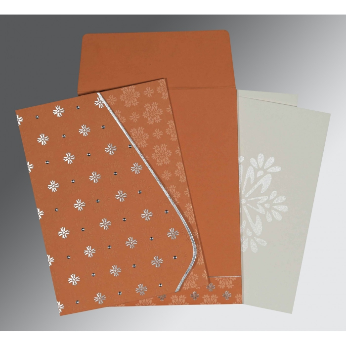 BROWN RUST MATTE FLORAL THEMED - FOIL STAMPED WEDDING INVITATION : C-8237C - 123WeddingCards