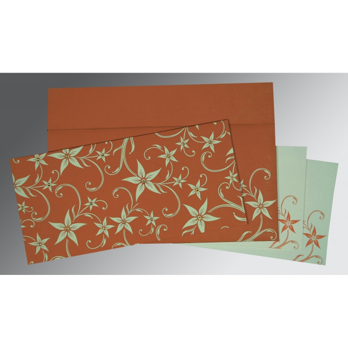 BURNT ORANGE MATTE FLORAL THEMED - SCREEN PRINTED WEDDING INVITATION : W-8225G - 123WeddingCards