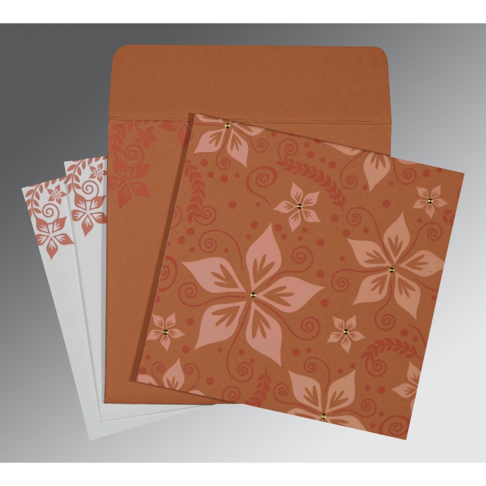 LIGHT BROWN MATTE FLORAL THEMED - SCREEN PRINTED WEDDING INVITATION : W-8240H - 123WeddingCards