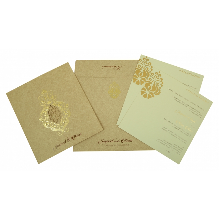 SAND MATTE DAMASK THEMED - LASER CUT WEDDING INVITATION : C-1811 - 123WeddingCards