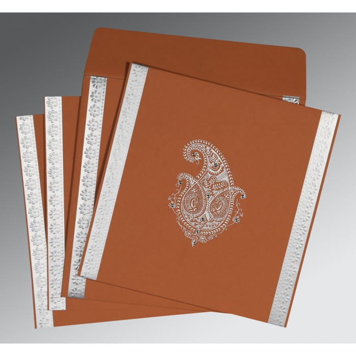 BROWN RUST MATTE PAISLEY THEMED - EMBOSSED WEDDING INVITATION : W-8231E - 123WeddingCards