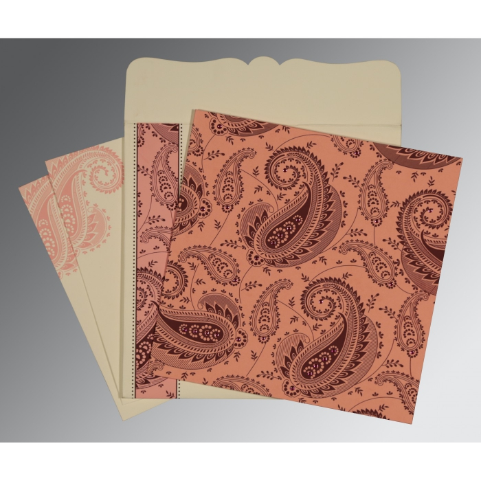 Pink Matte Paisley Themed - Screen Printed Wedding Card : D-8250F - 123WeddingCards