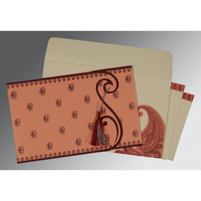 SALMON MATTE PAISLEY THEMED - SCREEN PRINTED WEDDING INVITATION : D-8252G - 123WeddingCards