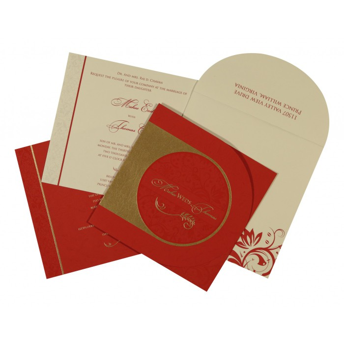 DARK RED MATTE PAISLEY THEMED - SCREEN PRINTED WEDDING CARD : W-8264D - 123WeddingCards