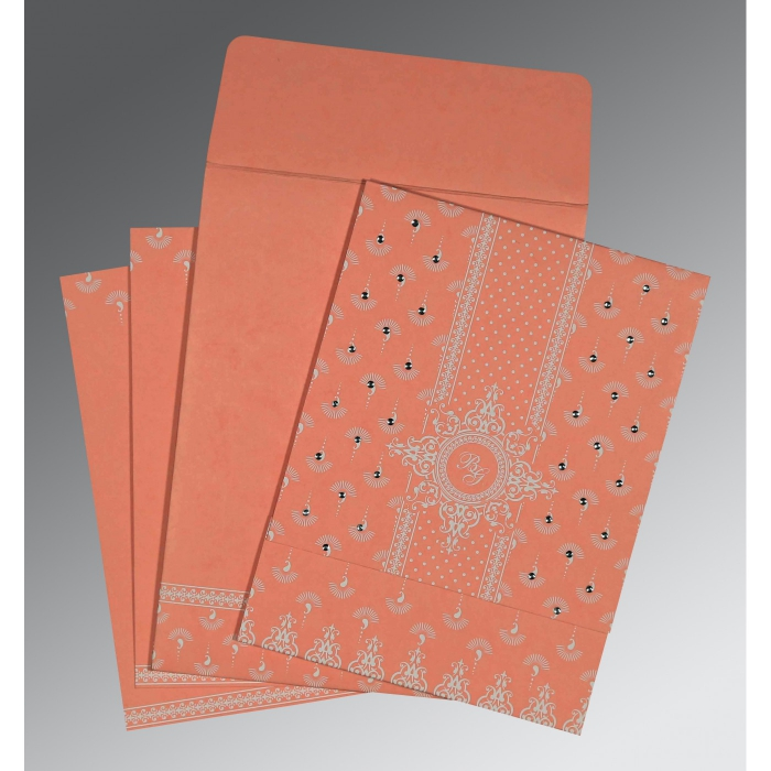 PEACH MATTE SCREEN PRINTED WEDDING INVITATION : C-8247A - 123WeddingCards
