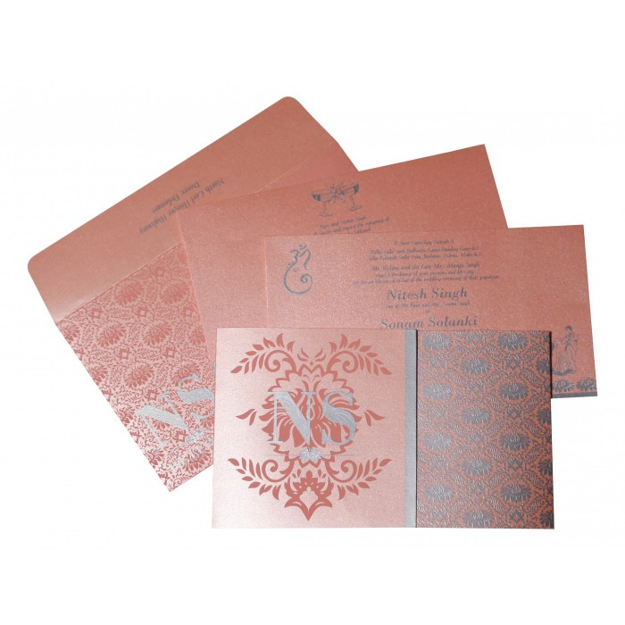 BABY PINK SHIMMERY DAMASK THEMED - SCREEN PRINTED WEDDING INVITATION : C-8261D - 123WeddingCards