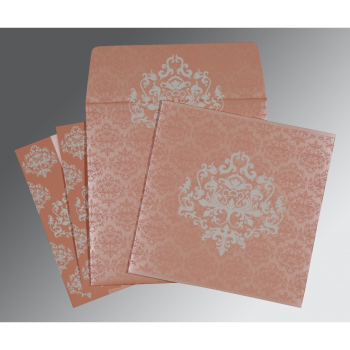 PINK SHIMMERY DAMASK THEMED - SCREEN PRINTED WEDDING CARD : D-8254G - 123WeddingCards