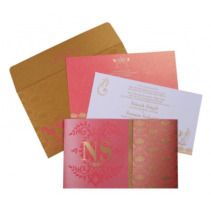 Pink Shimmery Damask Themed - Screen Printed Wedding Invitation : IN-8261B - 123WeddingCards