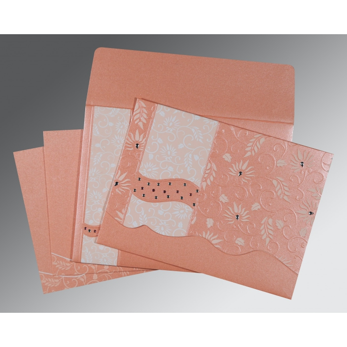 PINK SHIMMERY FLORAL THEMED - EMBOSSED WEDDING INVITATION : D-8236A - 123WeddingCards