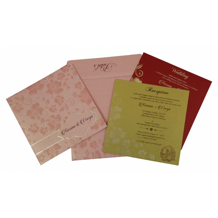BABY PINK SHIMMERY FLORAL THEMED - FOIL STAMPED WEDDING INVITATION : C-1793 - 123WeddingCards
