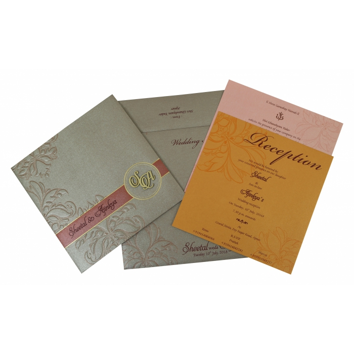 Pink Shimmery Floral Themed - Foil Stamped Wedding Invitation : IN-1788 - 123WeddingCards