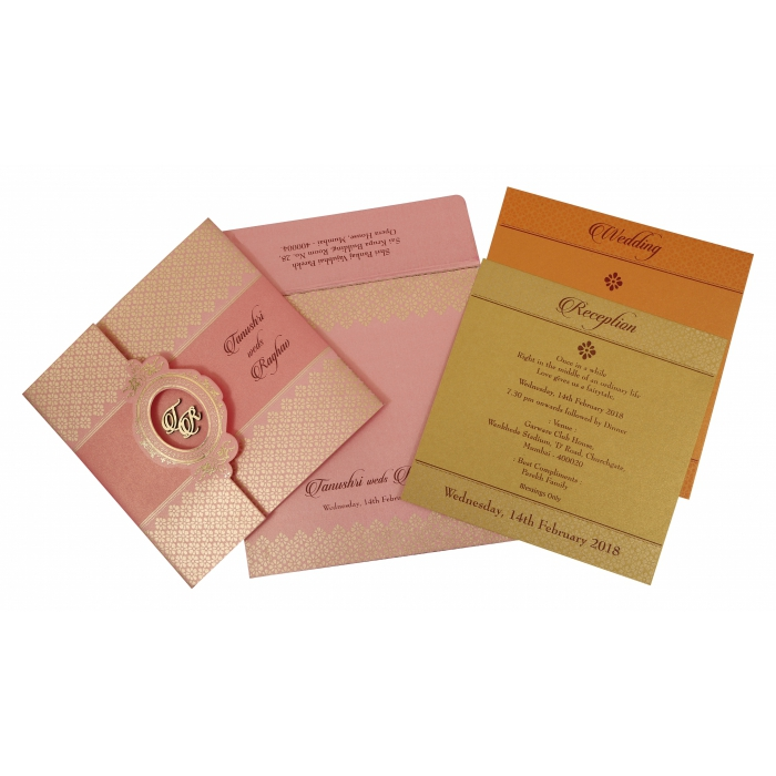 Pink Shimmery Floral Themed - Foil Stamped Wedding Invitation : W-1772 - 123WeddingCards