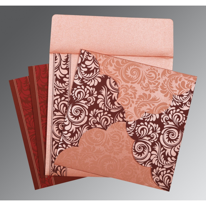 PINK SHIMMERY FLORAL THEMED - SCREEN PRINTED WEDDING CARD : IN-8235D - 123WeddingCards