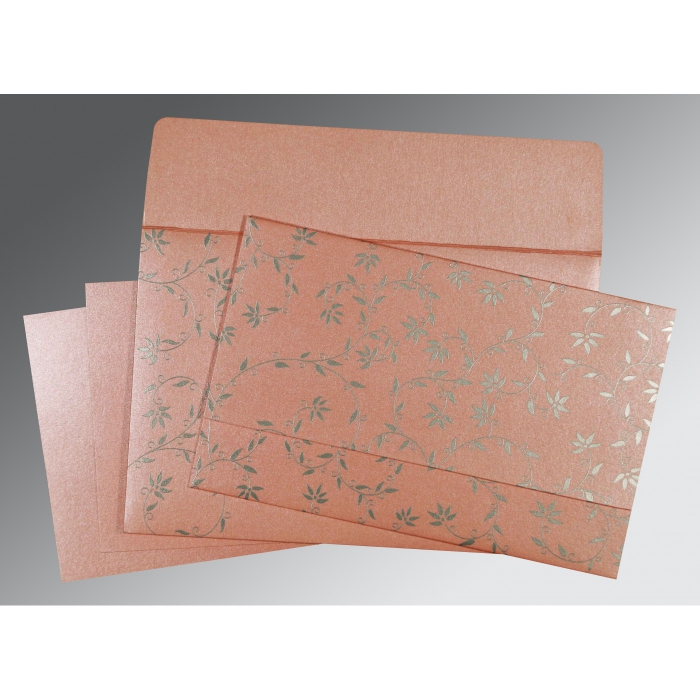BABY PINK SHIMMERY FLORAL THEMED - SCREEN PRINTED WEDDING INVITATION : W-8226B - 123WeddingCards