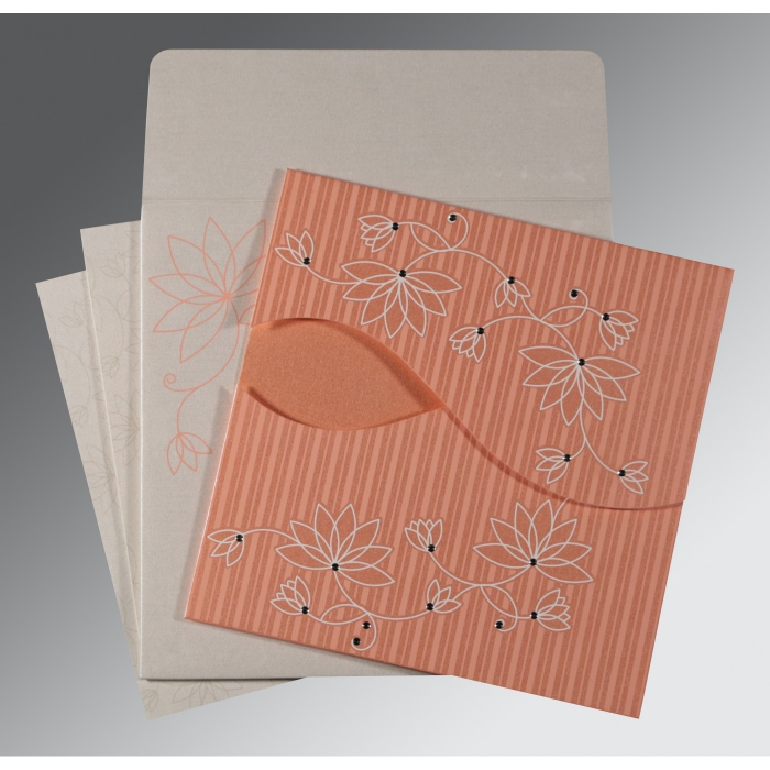 CORAL SHIMMERY FLORAL THEMED - SCREEN PRINTED WEDDING INVITATION : W-8251I - 123WeddingCards
