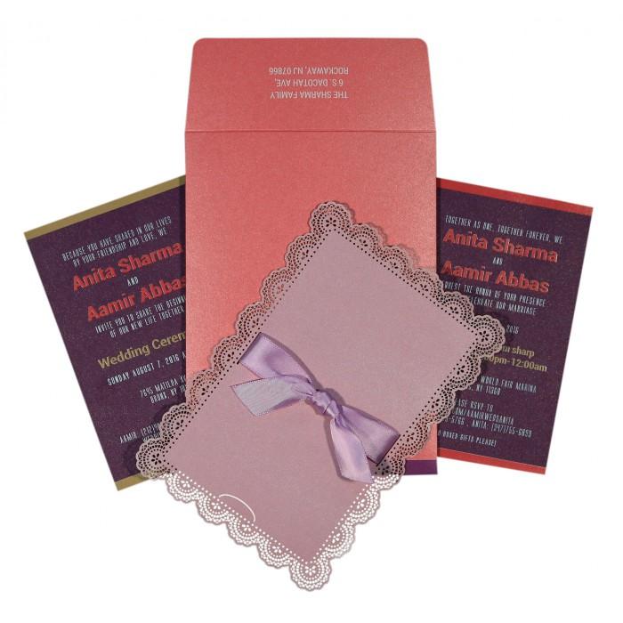 Pink Shimmery Laser Cut Wedding Invitation : G-1589 - 123WeddingCards
