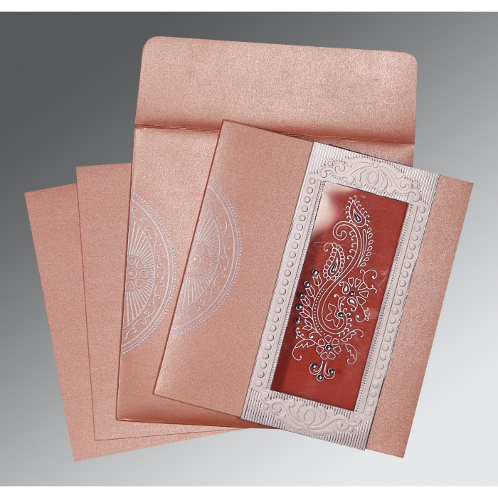 PINK SHIMMERY PAISLEY THEMED - FOIL STAMPED WEDDING INVITATION : W-8230A - 123WeddingCards