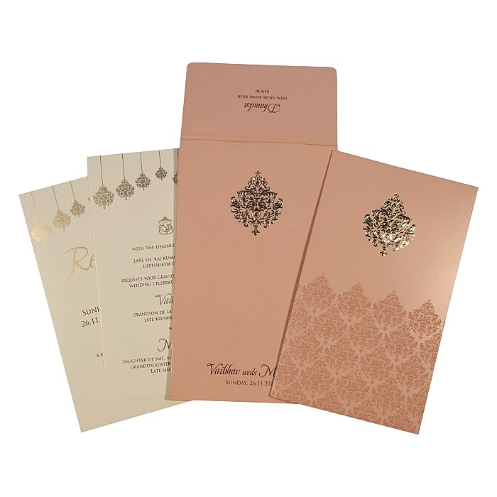 Pink Shimmery Paisley Themed - Screen Printed Wedding Card : W-1746 - 123WeddingCards