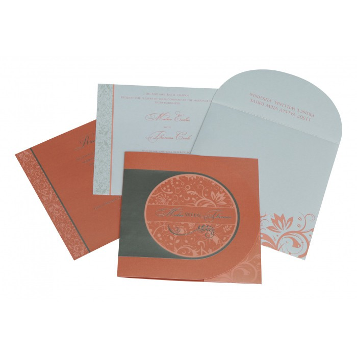 STRONG RED ORANGE SHIMMERY PAISLEY THEMED - SCREEN PRINTED WEDDING CARD : W-8264A - 123WeddingCards